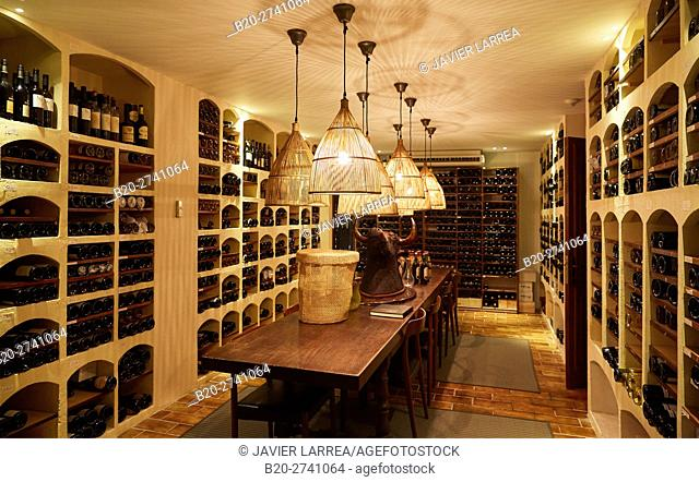 Wine selection, Cellar, Rekondo Restaurant, Donostia, San Sebastian, Gipuzkoa, Basque Country, Spain