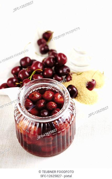 Preserved rum cherries with brown sugar