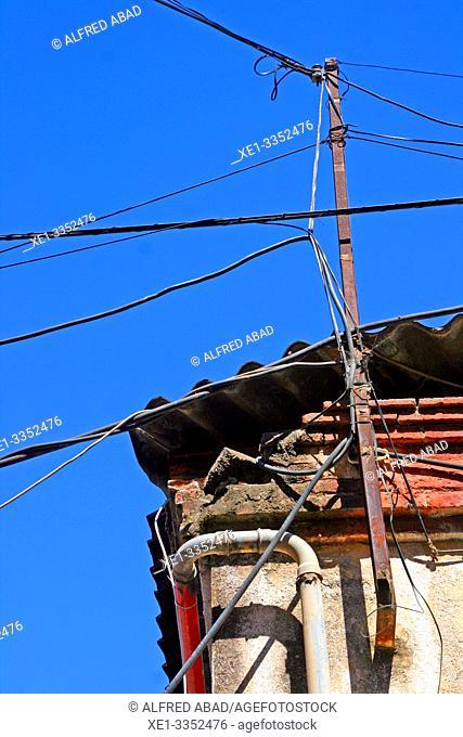 electrical cables, industrial polygon, plaza del Nou, Zona Franca, Barcelona, Catalonia, Spain