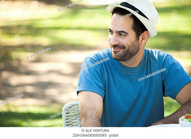Man relaxing outdoors