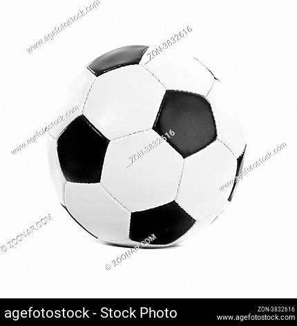 Football ball made of genuine leather isolated on a white background. Soccer ball