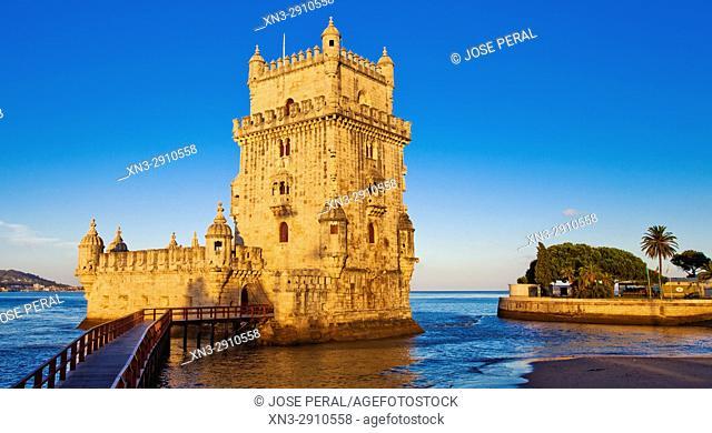 Belem Tower, Tower of Saint Vincent, Fortification, Torre de Belém, Tagus River mouth, Rio Tejo, Santa Maria de Belém district, Lisbon, Portugal, Europe