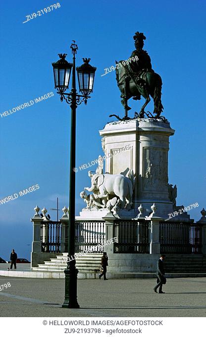 Statue of Dom Jose 1 in elegant riverside square Praco do Comercio, Lisbon, Portugal, western Europe