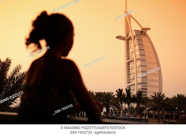 Burj Al Arab hotel at dusk, Dubai, United Arab Emirates ( UAE