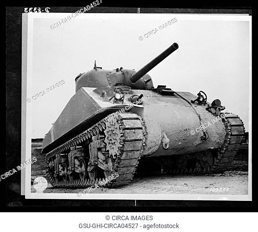 M-4 Tank during Training, Aberdeen, Maryland, USA, Office of War Information, 1940's