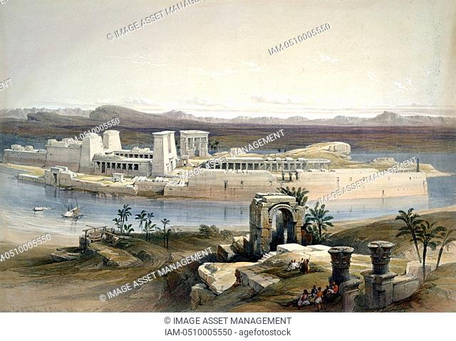 General View of the Island of Philae, Nubia' November 1838. After watercolour by David Roberts 1796-1864 Scottish artist and orientalist
