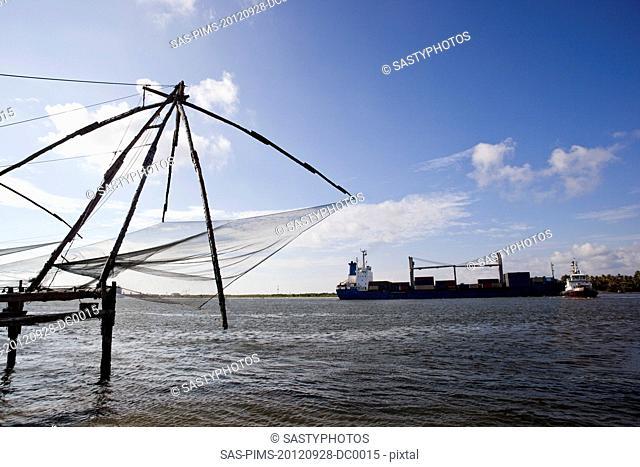 Chinese fishing nets at a harbor, Cochin, Kerala, India