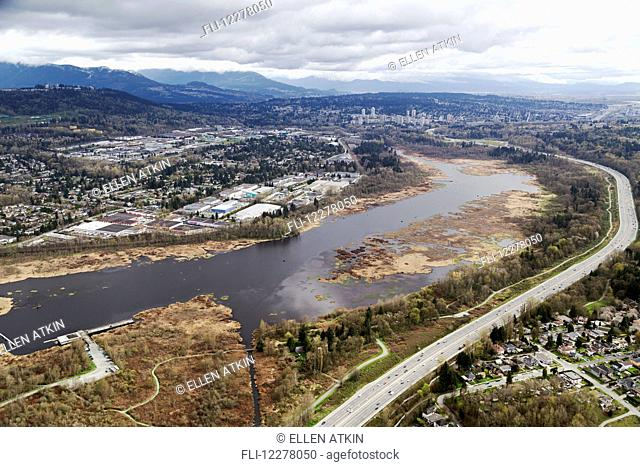 Aerial view of Burnaby Lake and Trans-Canada Highway; Burnaby, British Columbia, Canada