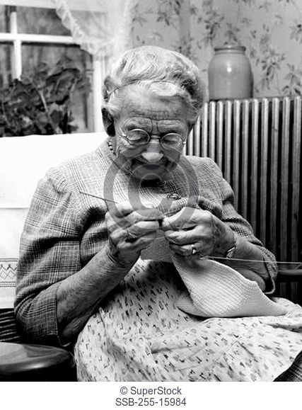 Vintage photograph of senior woman knitting
