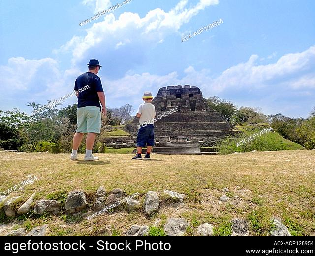 Father and son at Xunantunich, an Ancient Maya archaeological site in western Belize near San Ignacio, Cayo District, Belize