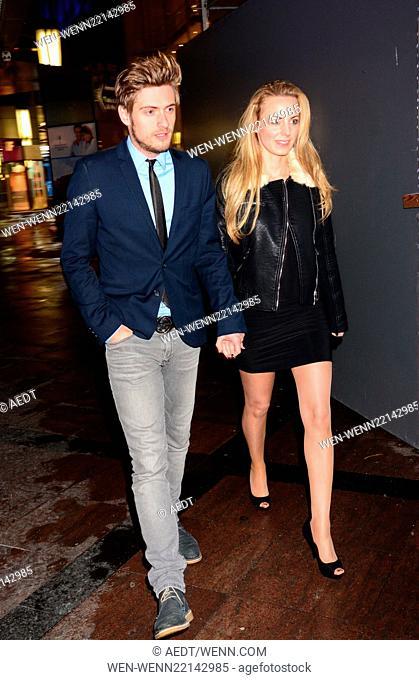 Joern Schloenvoigt and his girlfriend Syra Feiser leaving Maren Gilzer's birthday party at PanAm Lounge Featuring: Joern Schloenvoigt, Syra Feiser Where: Berlin