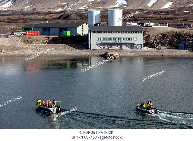 SCIENTIFIC RESEARCH TEAMS RETURNING TO THE VILLAGE OF NY ALESUND, THE NORTHERNMOST COMMUNITY IN THE WORLD (78 56N), SPITZBERG, SVALBARD, ARCTIC OCEAN, NORWAY