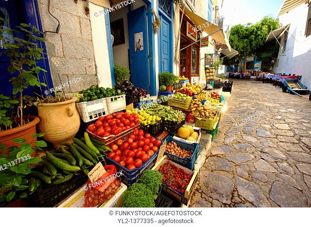 Fruit shop in the narrow streets & houses of Hydra, Greek Saronic Islands