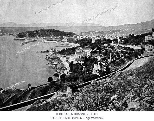 Early autotype of villefranche-sur-mer, provence-alpes-cote d'azur, france, historical photograph, 1884