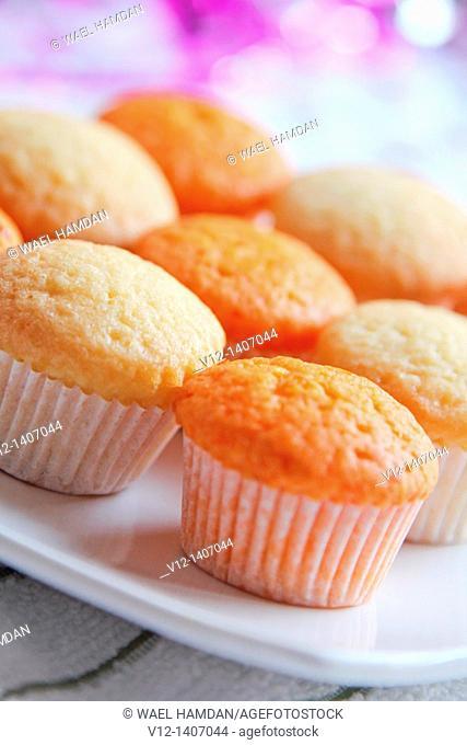 fresh cupcake with vanilla and orange