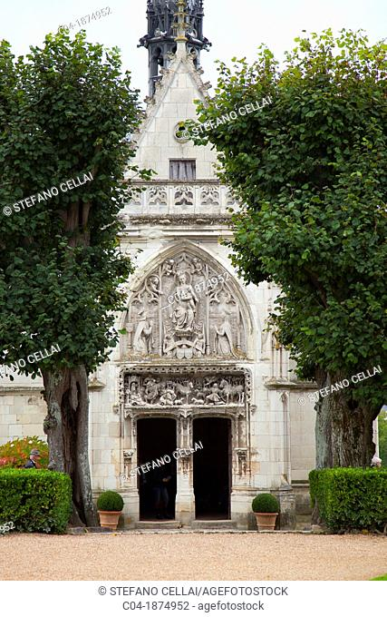 Chapel of Saint-Hubert where Leonardo da Vinci is buried, Château d'Amboise, Amboise, Indre-et-Loire, France