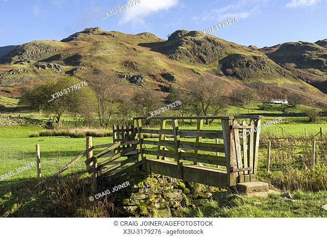 A wooden footbridge over a small beck at Dale Bottom with High Rigg beyond in the English Lake District National Park, Cumbria, England