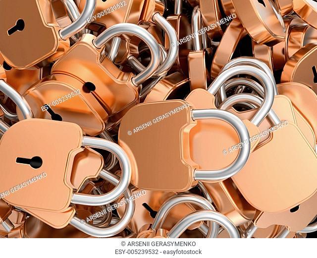Close-up of locked brass padlocks