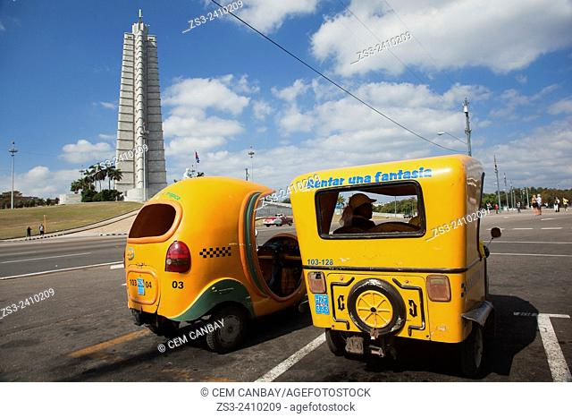 Coco taxis in front of the Jose Marti Monument, Plaza de la Revolucion, Vedado, Havana, Cuba, West Indies, Central America