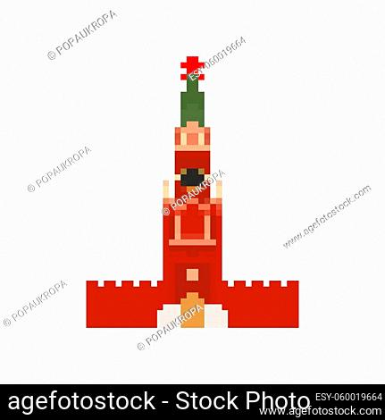 Moscow Kremlin tower pixel art. Moscow landmark 8 bit. Russia showplace Pixelate 16bit. Old game computer graphics style
