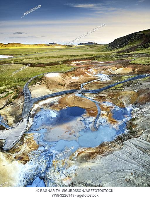Seltun, Geothermal Area, Krysuvik, Iceland. . Geothermal area bubbling with hot springs, mud pots, and solfataras