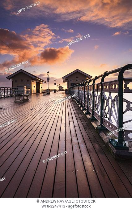 Sunrise captured from the Victorian Pier at Penarth in South Wales, using a wide angle zoom lens on a morning in mid February