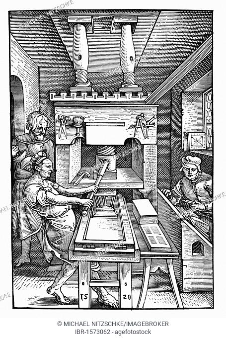 Printing press from 1520, historical image from History of German Literature from 1885