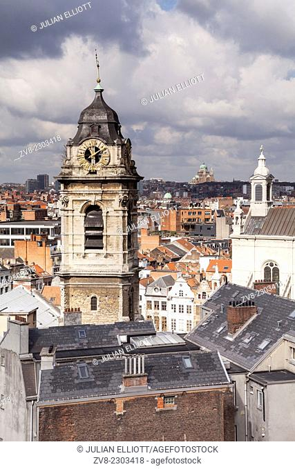 The rooftops of Brussels. The Tour de Sainte Catherine can be seen in the foreground