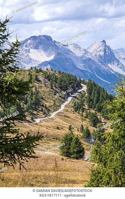 Mountain path and mountains, Sestriere Italy