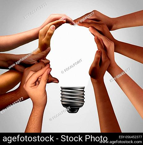 Human idea bulb concept as diverse creative people joining together with 3D illustration elements