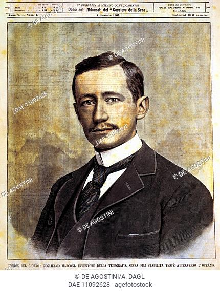 Portrait of Guglielmo Giovanni Maria Marconi (Bologna, 1874-Rome, 1937), Italian physicist and inventor. Illustration by Achille Beltrame (1871-1945)
