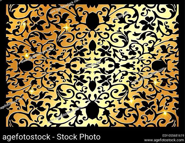 Vintage Art Deco gold floral Pattern. Stylish luxury wedding floral decor stylized like lace-textile. Vintage golden elegant damask ornament isolated on black...