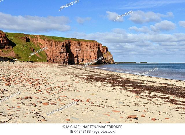 North beach in front of red cliffs, Heligoland, Schleswig-Holstein, Germany