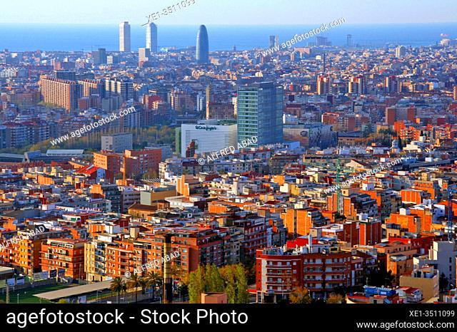 Panoramic view of Barcelona from Sierra de Collserola, Catalonia, Spain