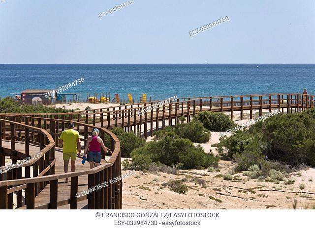 wooden walkway arenales del sol in Elche, Spain