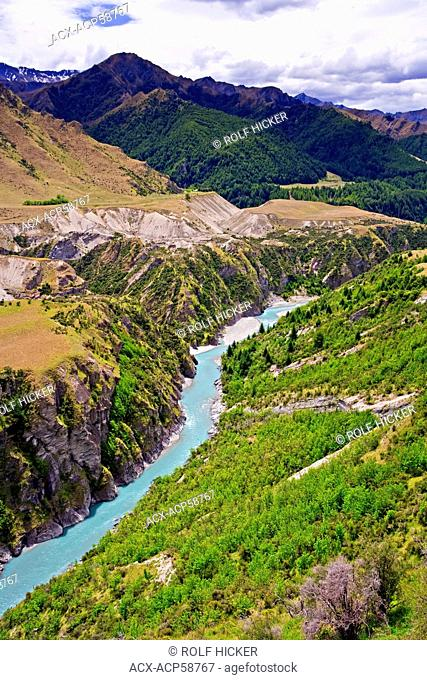 Shotover River and damage to landscape caused by sluicing during the gold rush in Skippers Canyon, Central Otago, South Island