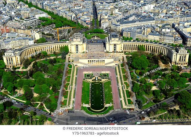 Aerial view of Paris Trocadero from Eiffel tower in Paris,France,Europe