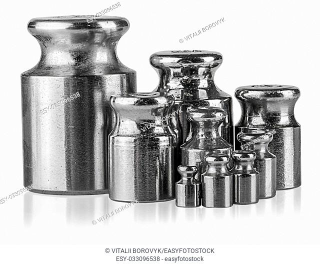 Several different weights near isolated on white background