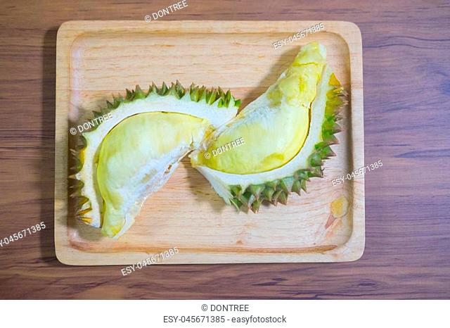 Yellow durian mon thong is king of fruits durian on wood tray