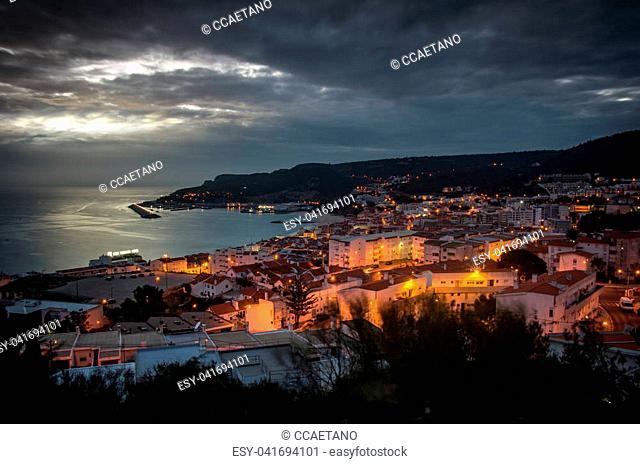 General panorama of the village of Sesimbra, Portugal, at nightfall