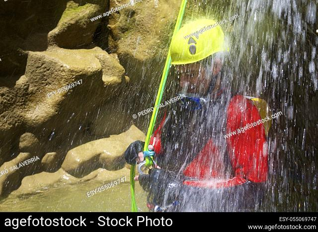 Canyoning in Fago Canyon, Pyrenees, Huesca Province, Aragon in Spain