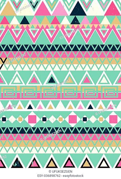 Tribal Ethnic textile decorative aged distressed ornamental striped seamless aztec pattern
