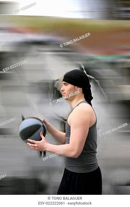 active motion street basket player ball