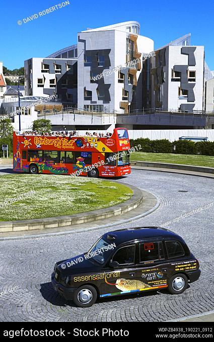 The Scottish Parliament Building, Edinburgh, Scotland. City Tour bus and taxi