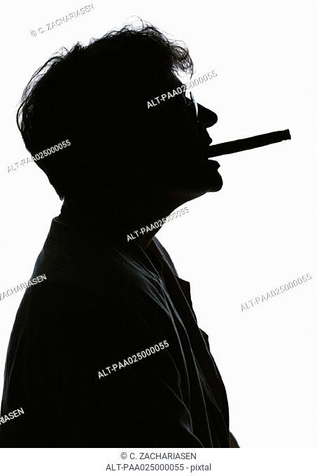 Man smoking, silhouette