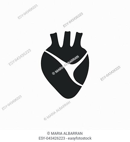 Human heart icon on a white background. Isolated vector illustration