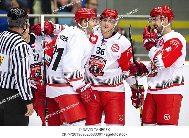 From left hockey players OSKARS CIBULSKIS, TOMAS VINCOUR, LUKAS VOPELKA, LUKAS CINGEL of Mountfield Hradec celebrate a goal during the Ice hockey Champions...