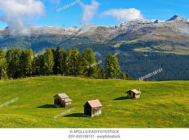 Three hay huts, Heustadl, on the Rotwand Meadow, Prati di Croda Rossa, Sesto, Sexten Dolomites, South Tyrol, Trentino-Alto Adige, Italy