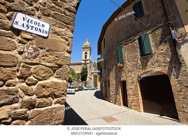 On background Montalcino Cathedral Italian: Duomo di Montalcino, Concattedrale di San Salvatore is a Roman Catholic cathedral, Montalcino, Val d'Orcia