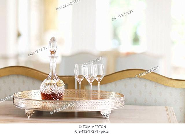 Crystal sherry decanter and cordial glasses on silver tray